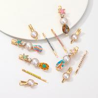 Haarschieber, Zinklegierung, mit Muschel & Kunststoff Perlen, für Frau & mit Strass, keine, 2SetsSatz/Menge, verkauft von Menge