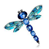 Zinklegierung Broschen, mit Kristall, Libelle, plattiert, für Frau, keine, frei von Nickel, Blei & Kadmium, 63x54mm, verkauft von PC