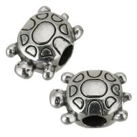 Zinklegierung Großes Loch Perlen, Schildkröter, Emaille, Silberfarbe, frei von Nickel, Blei & Kadmium, 15x10x7.50mm, Bohrung:ca. 4mm, 50PCs/Menge, verkauft von Menge