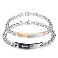 Edelstahl Ehepaar Armband, plattiert, Twist oval & verschiedene Stile für Wahl & mit Strass, verkauft von Strang