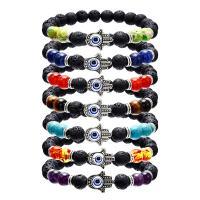 Lava Armband, mit Edelstein & Zinklegierung, Evil Eye Hamsa, unisex & verschiedene Stile für Wahl, verkauft per ca. 7.5 ZollInch Strang