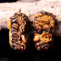 Gold- Obsidian Anhänger, Fabelhaft wildes Tier, poliert, DIY & geschnitzed, braun, 18x12x32mm, verkauft von PC