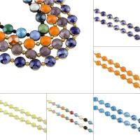 Flache runde Kristall Perlen, plattiert, facettierte, mehrere Farben vorhanden, 14x9.5mm, Bohrung:ca. 1mm, ca. 30PCs/Strang, verkauft von Strang