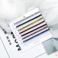 Haarschieber, Zinklegierung, mit Acryl Strass, für Frau, gemischte Farben, frei von Nickel, Blei & Kadmium, 71x3mm, verkauft von setzen