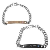 Edelstahl Ehepaar Armband, plattiert, unisex & Kandare Kette & mit Strass, 50x5.5mm,5mm,48.5x7.5mm,8mm, Länge:ca. 7 ZollInch, ca. 8 ZollInch, 2SträngeStrang/setzen, verkauft von setzen