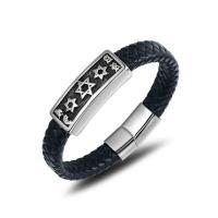 Titanstahl Armband, mit PU Leder, Judentum Schmuck & für den Menschen, 15.9mmx12.1mm, verkauft von PC