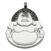 Ton Anhänger, mit Glas & Messing, Buddha, silberfarben plattiert, 49x57x15mm, Bohrung:ca. 5x6mm, verkauft von PC