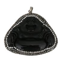 Ton Anhänger, mit Glas & Messing, Buddha, schwarz, 56x52x15mm, Bohrung:ca. 5x6mm, verkauft von PC