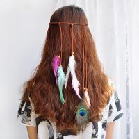 Stirnband, PU Leder, mit Feder, Bohemian-Stil & für Frau, gemischte Farben, 150mm, 10PCs/Menge, verkauft von Menge