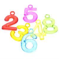 Acryl Anhänger, Zahl, Spritzgießen, keine, 31x20x4mm, Bohrung:ca. 1mm, ca. 3600PCs/Tasche, verkauft von Tasche