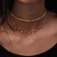 Mode-Multi-Layer-Halskette, Zinklegierung, plattiert, mehrschichtig & für Frau & mit Strass, goldfarben, frei von Nickel, Blei & Kadmium, verkauft von Strang