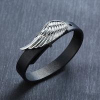 Edelstahl Armreif, mit Leder, Koreanischen Stil & für den Menschen, schwarz, frei von Nickel, Blei & Kadmium, 18mmuff0c12mm, verkauft von PC