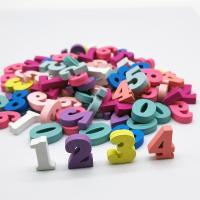 Holzperlen, Holz, Zahl, Spritzlackierung, gemischte Farben, 15mm, 100PCs/Tasche, verkauft von Tasche
