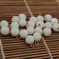 ABS-Kunststoff-Perlen Anhänger, rund, weiß, 10mm, Bohrung:ca. 1mm, 100PCs/Tasche, verkauft von Tasche