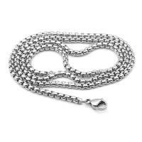 Halskette, Edelstahl, plattiert, unisex & verschiedene Größen vorhanden, Silberfarbe, 10SträngeStrang/Tasche, verkauft von Tasche
