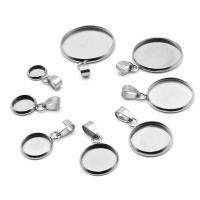 Edelstahl Anhänger Einstellung, plattiert, DIY & verschiedene Größen vorhanden, Silberfarbe, 50PCs/Tasche, verkauft von Tasche
