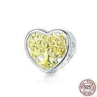 925 Sterling Silber Perlen, 925er Sterling Silber, Herz, versilbert, DIY, 12x11mm, verkauft von PC