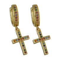 Messing Huggie Hoop Ohrhänger, Kreuz, vergoldet, Micro pave Zirkonia & für Frau, frei von Nickel, Blei & Kadmium, 11x17mm,31mm, verkauft von Paar
