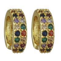 Messing vergoldet, Micro pave Zirkonia & für Frau, frei von Nickel, Blei & Kadmium, 4x13.50x12.50mm, verkauft von Paar