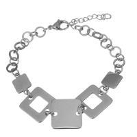 Edelstahl Schmuck Armband, mit Verlängerungskettchen von 1Inch, für Frau, originale Farbe, 15x15mm,14.5x8.5mm,6.5x6.5mm, Länge:ca. 7 ZollInch, 5SträngeStrang/Menge, verkauft von Menge