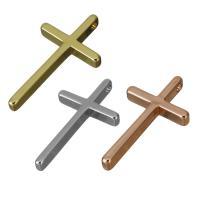 Messing Kreuz Anhänger, plattiert, keine, frei von Nickel, Blei & Kadmium, 13x23.50x3mm, Bohrung:ca. 1.5mm, 10PCs/Menge, verkauft von Menge