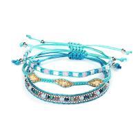 Nylonschnur Armband-Set, mit Seedbead & Achat, rund, für Frau, blau, frei von Nickel, Blei & Kadmium, 280mm, 3PC/setzen, verkauft von setzen
