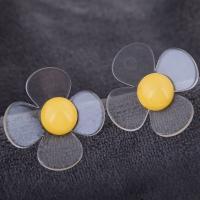 Acryl Ohrstecker, Edelstahl Stecker, Blume, plattiert, für Frau, keine, 38mm, verkauft von Paar