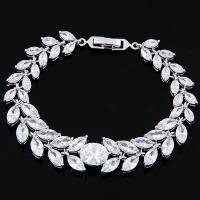 Messing Armband, mit kubischer Zirkonia, plattiert, für Frau, keine, frei von Nickel, Blei & Kadmium, 170*13mm, verkauft von Strang