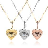 Messing Halskette, Herz, plattiert, für Frau & mit Strass, keine, frei von Nickel, Blei & Kadmium, verkauft von Strang