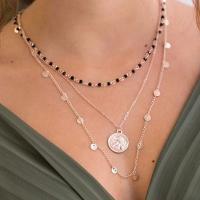 Mode-Multi-Layer-Halskette, Zinklegierung, plattiert, mehrschichtig & für Frau, goldfarben, frei von Nickel, Blei & Kadmium, verkauft von Strang
