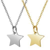 Edelstahl Schmuck Halskette, Stern, Oval-Kette & für Frau, keine, 12x13mm, Länge:ca. 15.75 ZollInch, 5SträngeStrang/Menge, verkauft von Menge