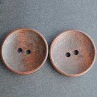 Duftendes Rosenholz Knopf Zubehöre, flache Runde, Spritzlackierung, DIY & Doppelloch, Kaffeefarbe, 25mm, 100PCs/Menge, verkauft von Menge