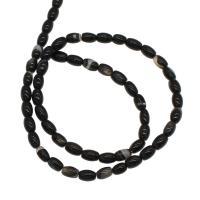 Natürliche Streifen Achat Perlen, plattiert, schwarz, 4x4x6mm, Bohrung:ca. 1mm, 54PCs/Strang, verkauft von Strang