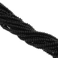 Natürliche schwarze Achat Perlen, Schwarzer Achat, plattiert, schwarz, 5x5x3mm, Bohrung:ca. 1mm, 118PCs/Strang, verkauft von Strang