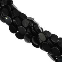 Natürliche schwarze Achat Perlen, Schwarzer Achat, plattiert, schwarz, 13x18x5mm, Bohrung:ca. 2mm, 20PCs/Strang, verkauft von Strang
