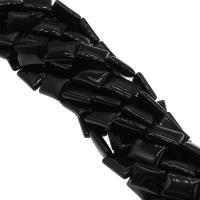 Natürliche schwarze Achat Perlen, Schwarzer Achat, plattiert, schwarz, 13x18x6mm, Bohrung:ca. 1mm, 22PCs/Strang, verkauft von Strang