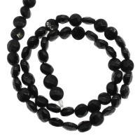 Natürliche schwarze Achat Perlen, Schwarzer Achat, plattiert, DIY & facettierte, schwarz, 7x7x4mm, Bohrung:ca. 1mm, 60PCs/Strang, verkauft von Strang