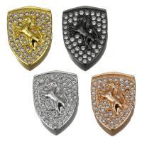 Messing-Armband-Ergebnisse, Messing, Schild, plattiert, Micro pave Zirkonia, keine, frei von Nickel, Blei & Kadmium, 9.50x13.50x5.50mm, Bohrung:ca. 2mm, 10PCs/Menge, verkauft von Menge