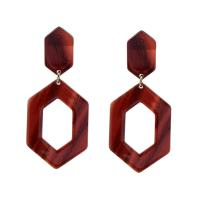 Acryl Tropfen Ohrring, plattiert, für Frau, rot, 29x68x2mm, verkauft von Paar