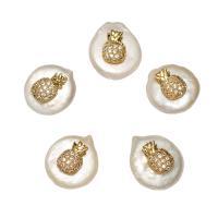 Barock kultivierten Süßwassersee Perlen, Natürliche kultivierte Süßwasserperlen, mit Messing, goldfarben plattiert, Micro pave Zirkonia, weiß, 16x13x7mm, Bohrung:ca. 0.8mm, verkauft von PC