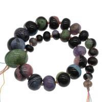 gemischter Achat Perle, farbenfroh, 30x20mm/13x8mm, Bohrung:ca. 2mm, ca. 29PCs/Strang, verkauft von Strang