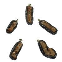 Natürliche Achat Druzy Anhänger, Eisquarz Achat, mit Seeohr Muschel, goldfarben plattiert, mit Strass, 20x57x17mm/19x41x20mm, Bohrung:ca. 3mm, verkauft von PC