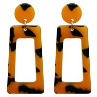 Acetat-Blatt Tropfen Ohrring, für Frau, keine, 27x66mm, 3PaarePärchen/Paar, verkauft von Paar