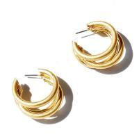 Zinklegierung Ohrstecker, plattiert, für Frau, goldfarben, frei von Nickel, Blei & Kadmium, 25*25mm, verkauft von Paar