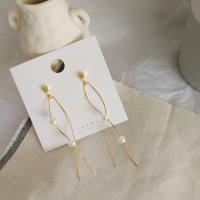 Messing Tropfen Ohrringe, mit Kunststoff Perlen, plattiert, verschiedene Stile für Wahl & für Frau, goldfarben, frei von Nickel, Blei & Kadmium, 92*16mm, verkauft von Paar