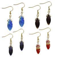 Edelstahl Tropfen Ohrring, mit Glas, goldfarben plattiert, für Frau, keine, 10x29mm,50mm, 6PaarePärchen/Menge, verkauft von Menge