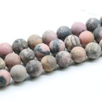 Schwarzer Streifen Rhodochrosite Stein Perle, rund, verschiedene Größen vorhanden & satiniert, Bohrung:ca. 1mm, verkauft von Strang