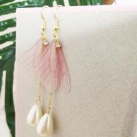 Zinklegierung Ohrringe, mit Kunststoff Perlen, Messing Haken, plattiert, für Frau & mit Strass, frei von Nickel, Blei & Kadmium, 40*25mm, verkauft von Paar