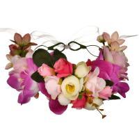 Stirnband, Stoff, mit Band, Blume, handgemacht, für Frau, farbenfroh, 180mm, verkauft von PC