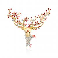 Zinklegierung Weihnachtselch, plattiert, für Frau & Emaille & mit Strass, keine, frei von Nickel, Blei & Kadmium, 49x42mm, 3PCs/Menge, verkauft von Menge